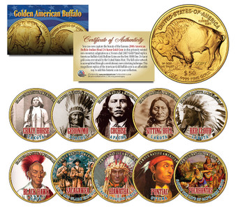 Famous Native Americans Set of 10 Replica Gold Buffalo $50 Coins