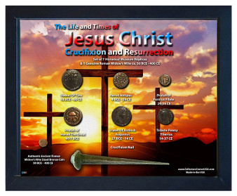 "Jesus Crucifixion & Resurrection Historical Replica Set in 8"" x 10"" ShadowBox"