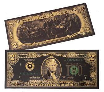 Lucky Black & Gold Novelty $2 Bill