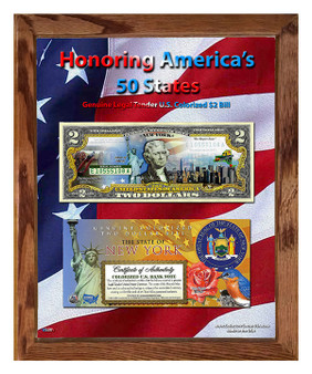 "Honoring America's 50 States Colorized $2 Bill in 8"" x 10"" Frame - Pick from Any of our 50 States!"