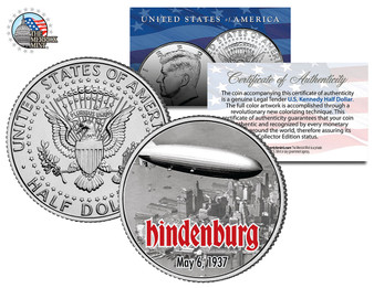 Hindenburg Over NYC Colorized JFK Half Dollar