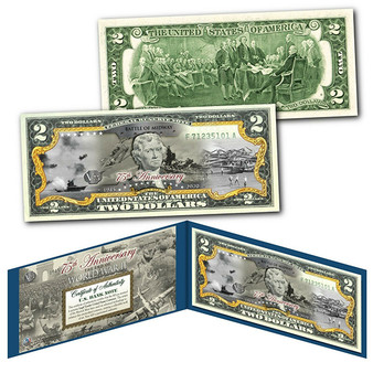 75th Anniversary End of World War II Colorized $2 Bill Battle of Midway