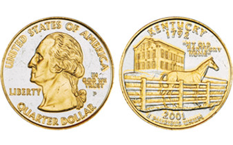 2-Tone Gold Plated State Quarters Individual Coins