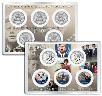 "JFK100 John F. Kennedy Centennial 2017 ""Life & Times"" JFK Half Dollar 5 Coin Set in 4x6 Lens Display"