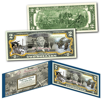 75th Anniversary End of World War II Colorized $2 Bill Battle of the Bulge