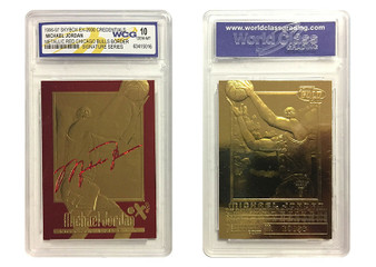 1996-1997 Michael Jordan SkyBox EX-2000 Credentials Red Signature 23K Gold Sculptured Card Graded Gem Mint 10