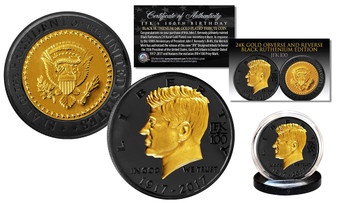 John F. Kennedy 35th President 100th Birthday Black Ruthenium & 24K Gold Plated Tribute Coin
