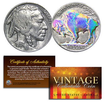 1930's 5 Cent Original Indian Head Buffalo Nickel Coin Full Date - Hologram