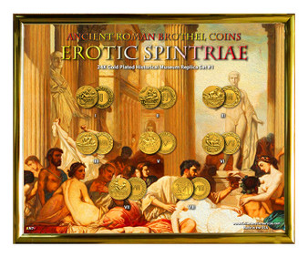 "Ancient Roman Brothel Coins Erotic Spintriae 24K Gold Plated Set #1 in 8"" x 10"" Frame"