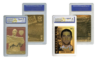 Aaron Rodgers Set Of 2 23K Gold Cards Graded Gem Mint 10