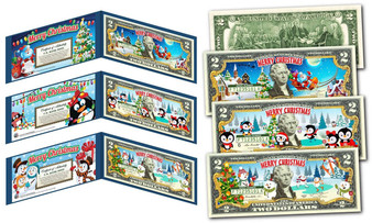 Set of 3 Christmas $2 Bills - Santa Sleigh, Penguins & Snowmen