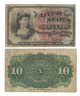 Civil War Era Fractional Currency 1863 10 Cent Note - A