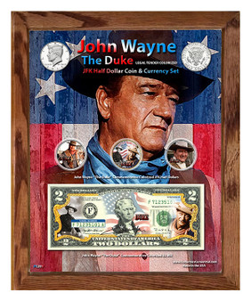 """John Wayne """"The Duke"""" Colorized Coin & Currency Set in 8"""" x 10"""" Frame"""