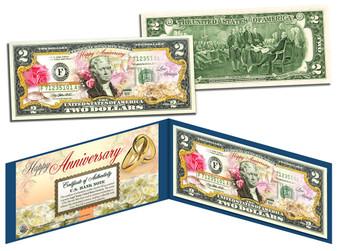 Happy Anniversary Colorized $2 Bill
