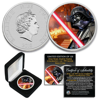 2018 Niue 1 oz Pure Silver BU Star Wars DARTH VADER Coin Caron Freeze Chamber Backdrop Limited Edition of 120