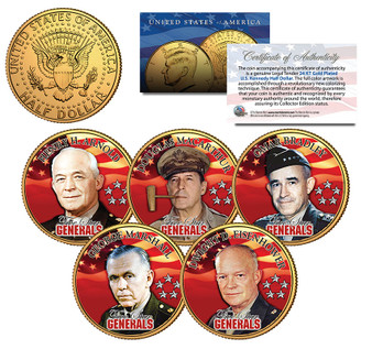 5-Star Generals Colorized 5 Coin JFK Half Dollar Set
