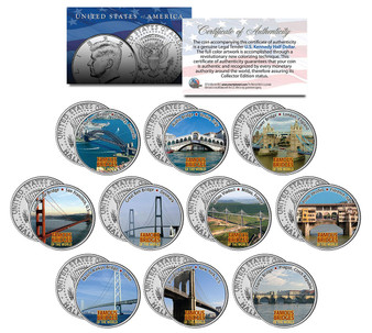 Famous Bridges Of The World Colorized JFK Half Dollar 10 Coin Set