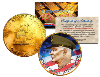 General Dwight D. Eisenhower Colorized & Gold Bicentennial Ike Dollar