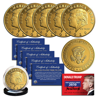 Donald Trump 2020 Keep America Great 45th President 24K Gold Clad Tribute Coin Lot of 5 Coins