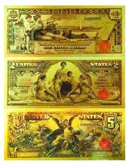Set of 3 24K Gold Foil U.S. Novelty Bills $1, $2 & $5 1896 Educational Series 2-Sided Notes