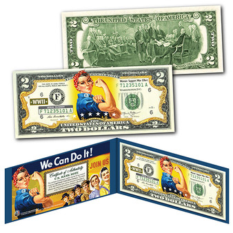ROSIE THE RIVETER WWII Cultural Icon Women's Economic Power Colorized $2 Bill