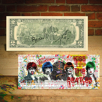 Kiss The Beatles Warrior Movie Genuine $2 U.S. Bill Signed by Rency Signed by Rency