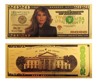 1st Couple Melania Trump 2020 24K Gold Plated $2020 Novelty Bill