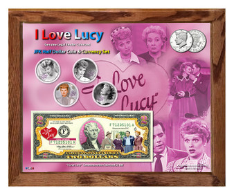 """""""I Love Lucy"""" Colorized JFK Half Dollar Coin & Currency Set in 8"""" x 10"""" Frame"""