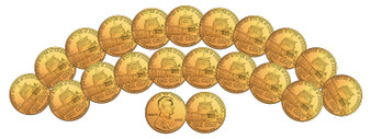 Set of 20 24K Gold-Plated 2009 Lincoln Pennies
