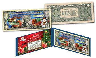 Merry Christmas Dual Overlay Silver Hologram & Polychrome $1 Bill