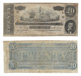 Confederate Currency 1864 $20 Note SN 7873