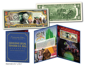 "Wizard of Oz Cast Colorized $2 Bill in Collectible 8""x10"" Folio"