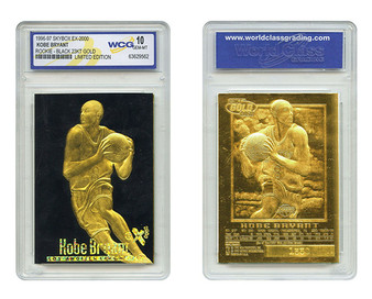 Kobe Bryant SkyBox EX-2000 Black Gold 1996 23K Gold Sculptured Card Graded Gem Mint 10