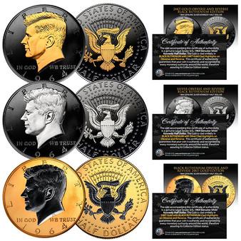 Set of all 3 1964 BU Silver JFK Half Dollars 2-Sided 24K Gold, Silver & Black Ruthenium