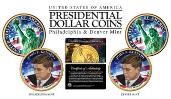 John F. Kennedy Colorized 2015 Presidential Dollar 2 Coin Set