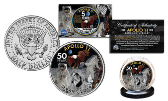 APOLLO 11 50th Anniversary Man on Moon Colorized JFK Half Dollar