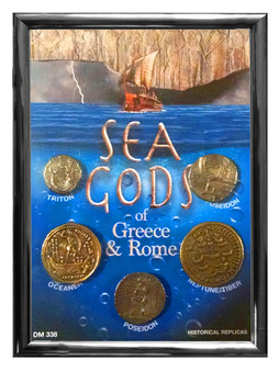 """Sea Gods of Greece & Rome 5 Coin Set of Historical Replicas in 5"""" x 7"""" Frame"""