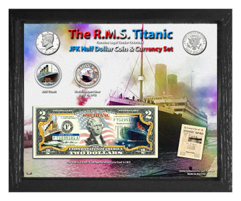 "The R.M.S. Titanic ""Americana"" Colorized Coin & Currency Set in 8"" x 10"" Frame"