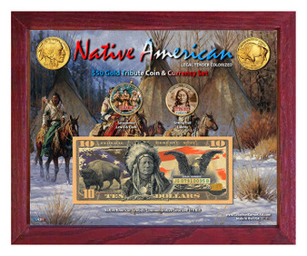 """Native American Symbols Set 4C Colorized $50 Buffalo Tribute Coin & $10 Bill Currency Set in 8"""" x 10"""" Frame"""