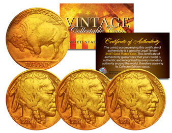 Lot of 3 24K Gold-Plated Buffalo Nickels