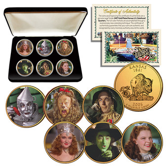 The Wizard of Oz 24K Gold Plated & Colorized Kansas State Quarter 6 Coin Set in Case