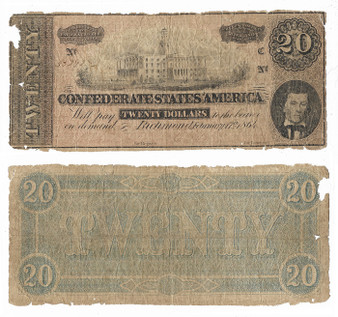 Confederate Currency 1864 $20 Note SN 33292