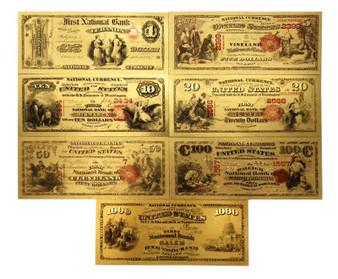 Set of 7 24K Gold Foil U.S. Novelty Bills $1, $5, $10, $20, $50, $100 & $1,000 1875 Series 2-Sided Notes