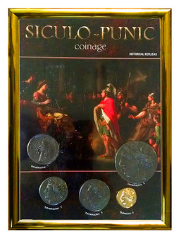"""Siculo-Punic Coinage 5 Coin Set of Historical Replicas in 5"""" x 7"""" Frame"""