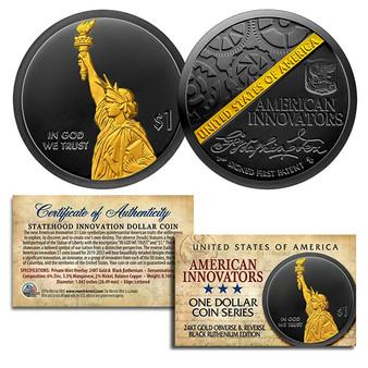 American Innovators $1 Coin 2018 1st Release - BLACK RUTHENIUM & 24K GOLD