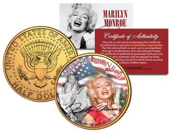 Marilyn Monroe Americana 24K Gold Plated JFK Half Dollar