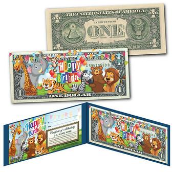 Happy Birthday - Zoo Animals Colorized $1 Bill