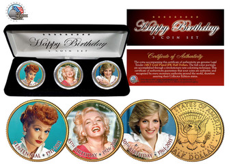 2011 Happy Birthday 3 Coin Set Marilyn Monroe, Lucille Ball & Princess Dianna