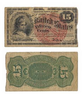 Civil War Era Fractional Currency 1863 15 Cent Note