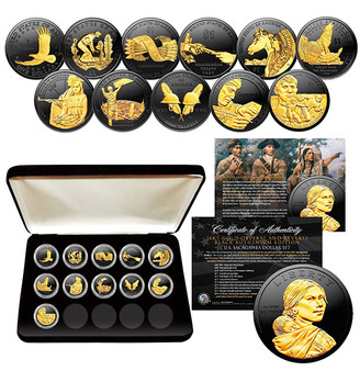 Sacagawea Dollar Black Ruthenium With 24K Gold Highlights 11 Coin Set in Case